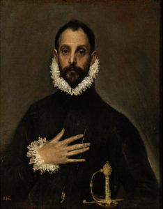 プラド美術館エル・グレコ、胸に手を置く騎士
