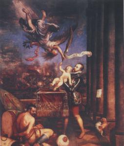 勝利の神へフェルナンドを捧げるフェリペ2世
