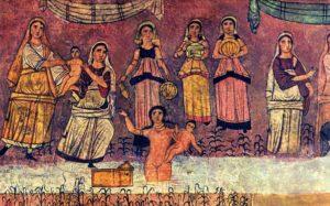 モーゼがナイル川から拾われる壁画