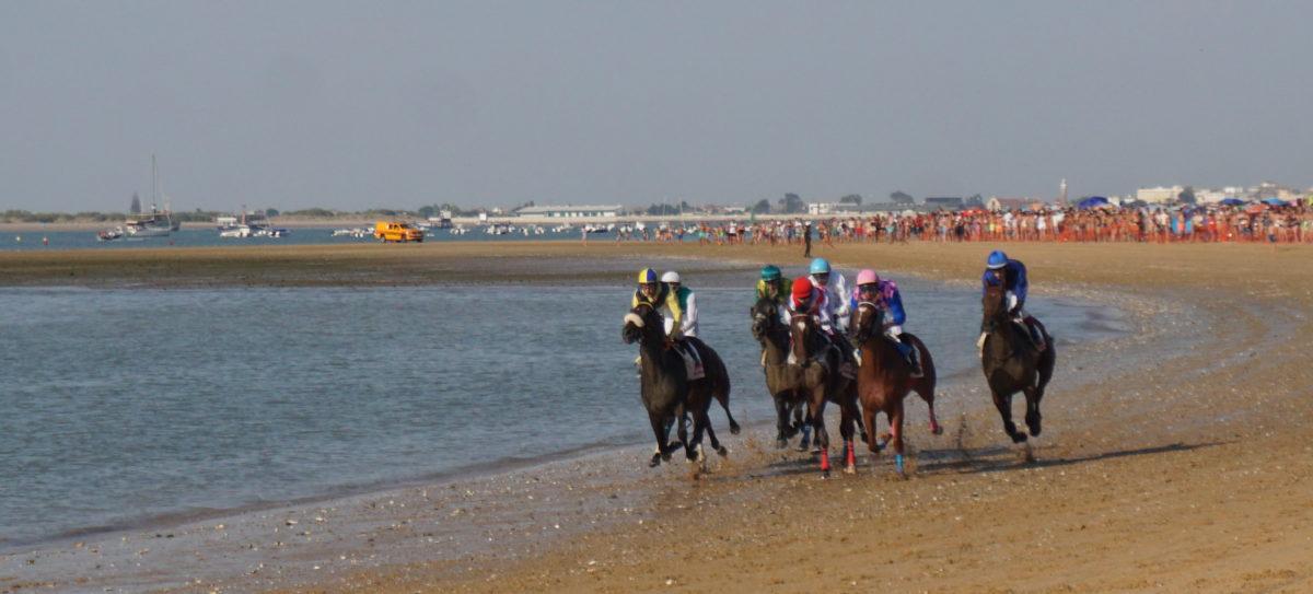 サンルーカル・デ・バラメダのビーチ競馬は毎年8月の干潮の頃、3日間ずつ2回あります。