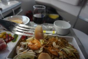 エアーフランス、パリ行きビジネスクラス食事
