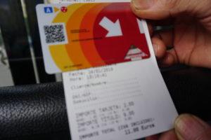 バレンシアのバスの切符