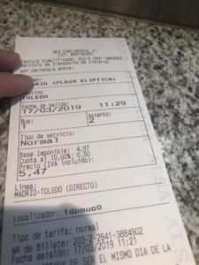 トレド行き切符