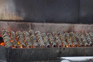 マラガのレストラン イワシを焼くところ