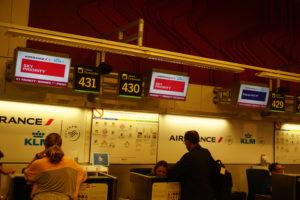 マドリード空港KLMオランダ航空チェックインカウンター