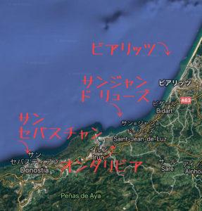 サンセバスティアンからフランスバスクの地図