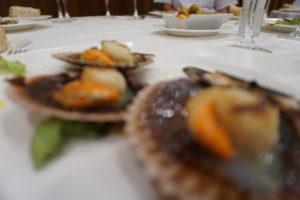 サンチアゴのレストラン、ホタテ貝