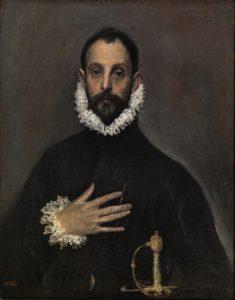 胸に手を置く騎士の肖像